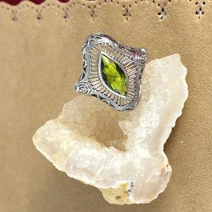 Gem Emporium Jewelry - Marque Cut Peridot 925 Silver Deco Filigree Ring